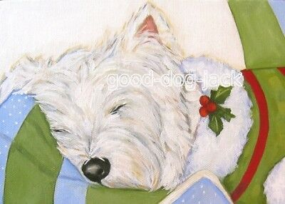 """West Highland Terrier ACEO WESTIE PRINT  """"Visions of Sugar Plums""""  RANDALL"""