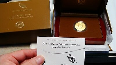 2015 Jaqueline Kennedy 1/2 0z .9999 First Spouse Gold  UNC