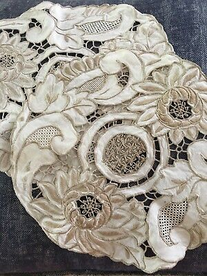 Pair Vintage Embroidered Doilies