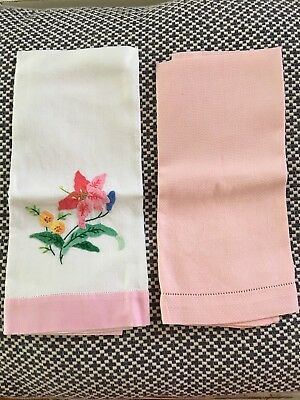 2 X VINTAGE HAND TOWELS - Cotton - Embroidered & Embossed