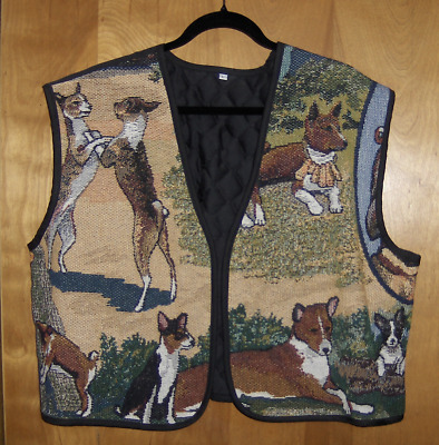 Ladies Vest with TAPESTRY images of BASENJIS IN VARIOUS POSES. LARGE.