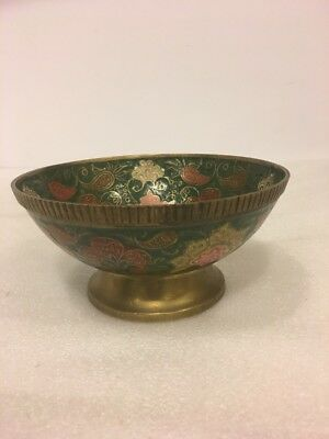 Antique Etched Hand Painted Flowers footed Brass Bowl  India