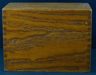 Vintage OAK RECIPE BOX Dove Tailed with Dividers 4x6 Good Organizer