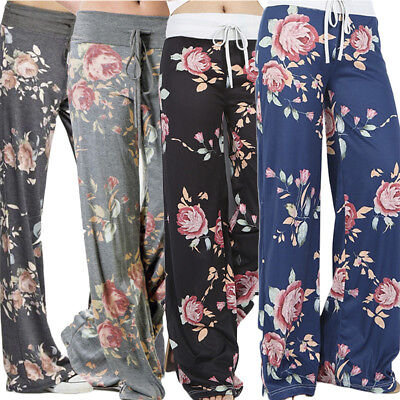 Women Boho Elastic Waist Casual Loose Trousers Floral Palazzo Wide Leg Pants 2XL