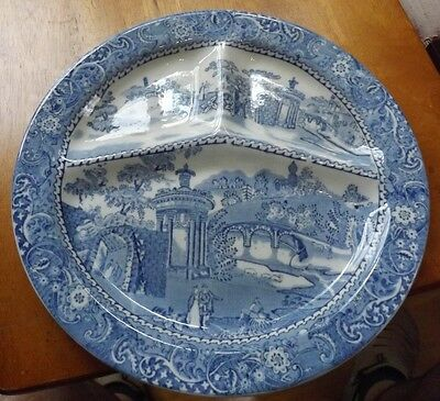 """W.R. Midwinter Transferware Divided 11"""" Plate  Courtship Very Nice Condition"""