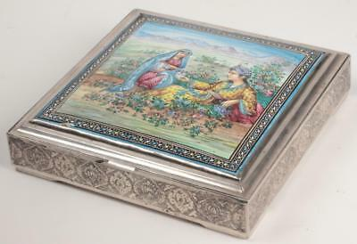 Antique 19th Century Persian Silver Box w/ Hand Painted Enamel on Copper Panel