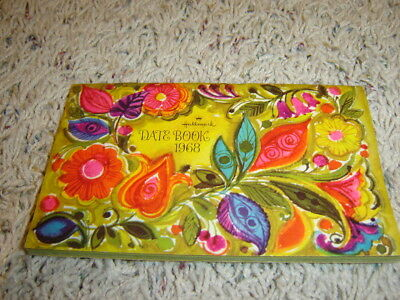 Unused 1968 Calendar Hallmark Date Book - Psychedelic Colorful Flowers