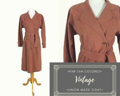 Union Made Vintage Jerry Silverman Gray Rose Trench Coat Leather Feel, Feminine