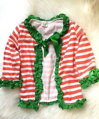 Red White Stripe Cardigan Girls Sweater Christmas Size 4T L