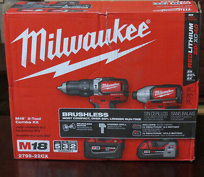 NEW Milwaukee 2799-22CX M18 Brushless Cordless HAMMER DRILL & IMPACT 2-Tool Kit