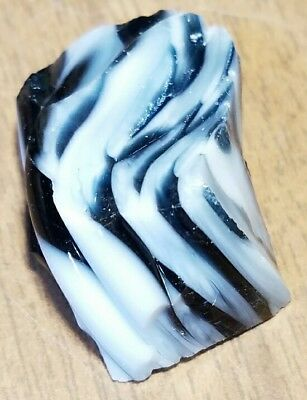 ~WILD~ TIGHTBANDED ZEBRA Old Akro Agate Marble Cullet Scrap Glass RARE 0.5 OZ
