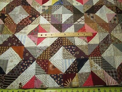 """Antique Quilt Top Remnant Crisp unwashed 33"""" x 22"""" Great for Crib/Doll Quilt"""