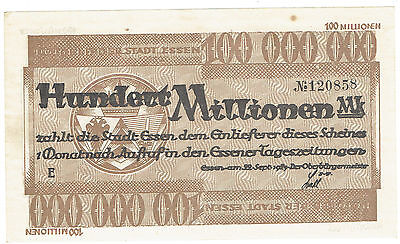 Germany Essen 1925 issue Notgeld 100 Million face value uncirculated note