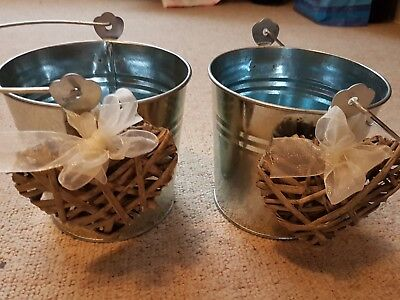 Confetti Wedding Silver Holders/Buckets x 2