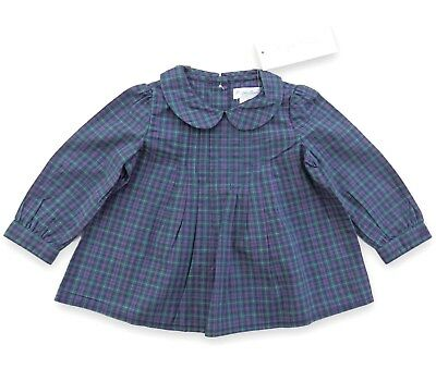 RALPH LAUREN baby girl plaid Tartan LS TUNIC 6/9M Blouse pintuck 75 BNWT