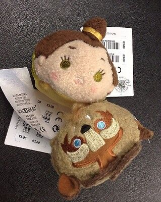 Disney Beauty And The Beast Belle and Beast Mini Tsum Tsum with tags