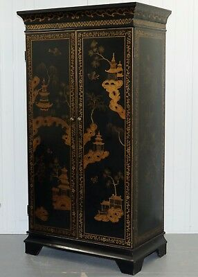 Lovely Very Large Ebonised Black Hand Painted Shanxi Wardrobe Room For Drawers