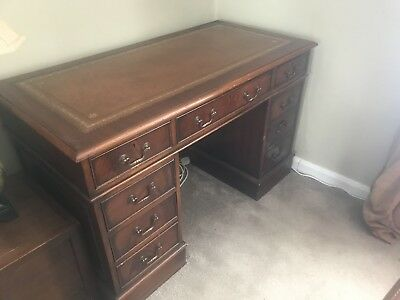 Antique Style Mahogany Office desk With Brown Leather Inlay And Chair