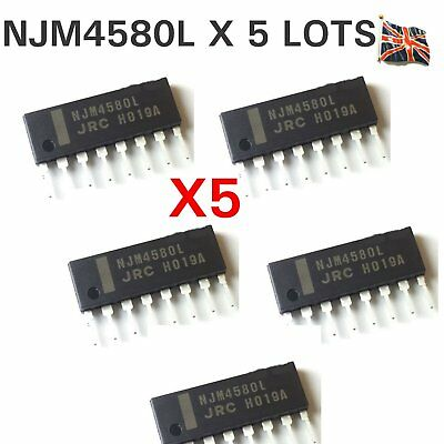 5 x NJM4580L SIP-8 NJR Dual Operational Amplifier IC Chip JRC ORIGINAL