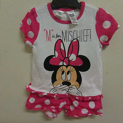 Licensed Disney Baby Minnie Mouse PJ's Pajamas Size 0 - 2 Piece Set Girl Boy