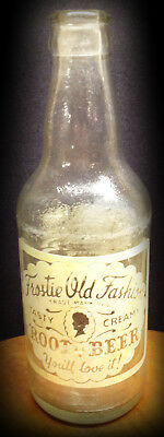 VINTAGE ACL FROSTIE OLD FASHION ROOT BEER CLEAR BOTTLE, CREAM GRAPHICS, 12 oz