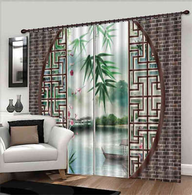Bamboo Out Of Window 3D Curtain Blockout Photo Printing Curtains Drape Fabric