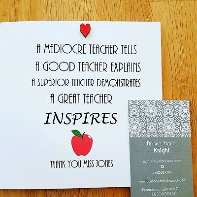 Best Teacher Personalised Card, Thank You, handmade with love