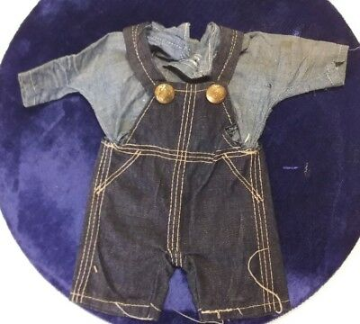 VINTAGE BUDDY LEE DOLL DENIM OVERALLS AND SHIRT 1930s-1950s CLOTHES ONLY