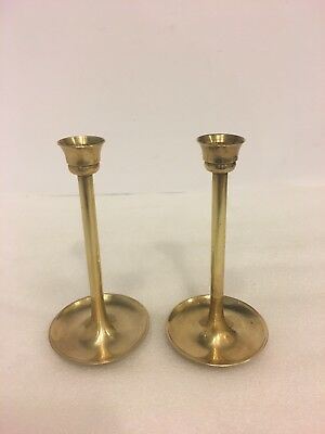 Vintage solid brass two piece set candle stick holder,omes apart 3 section.