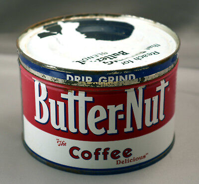 Vintage Butter-Nut Coffee One Pound Round Tin Can with Metal Cover