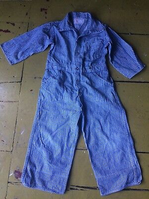 Rare Vintage Denim Overalls 1940's  Engineer Striped Play Suit Boys 4 Toddler