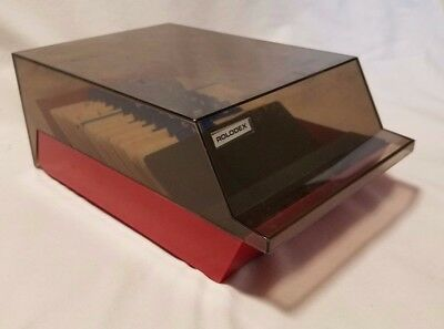 "Rolodex Covered Tray Card File with 3"" x 5"" Cards Black Smoke VIP35C Red Black"