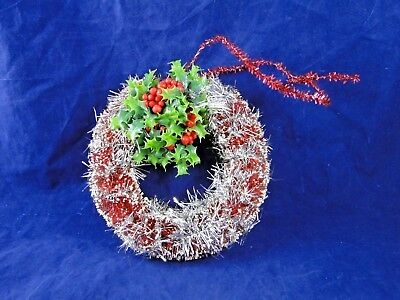 "Vtg RED Bottle Brush Christmas Flocked WREATH with Decorations 8"" tall"