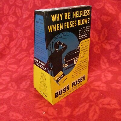 1950s Auto Store Countertop BUSS FUSE Tin Sign Advertising DISPLAY RACK 44 Boxes
