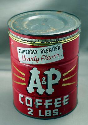 Vintage A&P Two Pound Round Tin Can with Metal Cover
