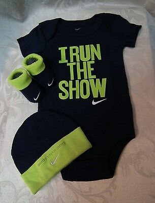 Nike - I Run The Show - 3 Piece Infant Set -  Navy Blue and Green