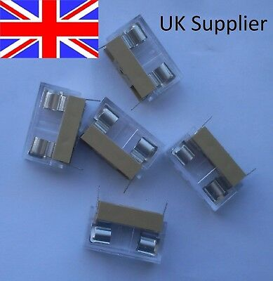 5 x 20mm PCB IN LINE FUSE HOLDERS WITH COVERS UK SUPPLIER