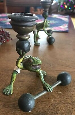 Frogs Lifting Weights Antique Bronze Candlesticks