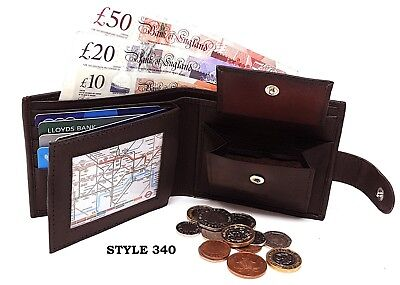 Mens Luxury Soft Real Leather Wallet, ID Window, Zip And Coin Pocket - 8 styles