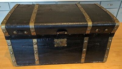 Antique rare leather-covered Jenny Lind Trunk with Brass Bands, Great condition!