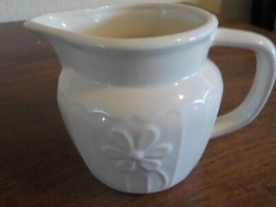 Vintage Small White Pitcher, Flower, 4 inches tall. Ribbed