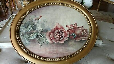 SHABBY Antique VTG OVAL WOOD FRAME rose watercolor painting VICTORIAN STYLE