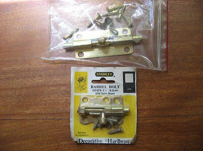 2 Stanley Brass Barrel Bolts Door latch Cupboard - vintage nos hardware