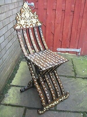 Large Stunning Antique  Anglo/indian Inlaid Folding Chair