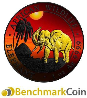 2017 African Sunset Somalia Elephant Silver Coin - Ruthenium + Gold Plating