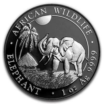 2017 Silver Enigma Somalia Elephant Silver Coin with Black Ruthenium