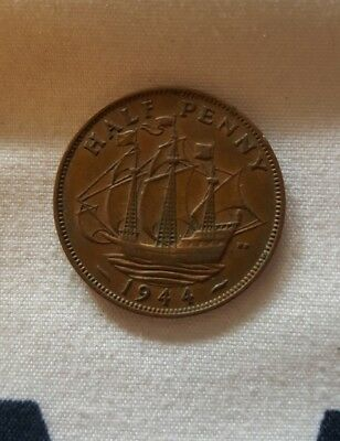 Great Britain 1944 Half Penny WWII Era Coin