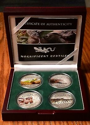 2013 Republic Of Congo Magnificent Reptiles 4-Coin Silver Proof Set-Colorized