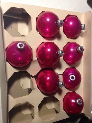 8 Vintage Shiny Brite Pink Glass Ball Christmas Ornaments 2.25""