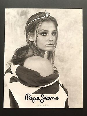 1994 Vintage Print Ad PEPE JEANS Fashion Woman's Model Image Crown Image
